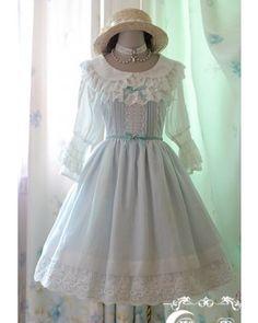 White Moon High Waist Sash JSK Dress 3 Colors $81.99-Cotton Lolita Dresses - My Lolita Dress