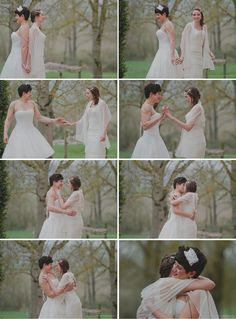 The 2 brides see each other in their dresses for the first time. — This is the sweetest thing omg ;_;