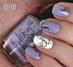 "Lola's Lavender Vines mani: OPI ""You're Such a Budapest"", OPI ""Alpine Snow""; stamped with Uber Chic UC 1-02 image plate and MASH Black stamping polisih, Seche Vite top coat."