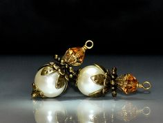 2 Cream Glass Pearl Bead Dangles or Earrings Bridesmaid Gift  Flower Girl Necklace Earring Gifts Wedding Party by goldcountrydangles on Etsy