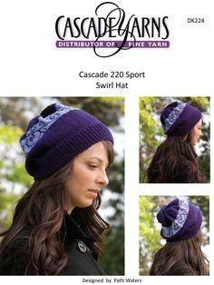 7787d6a0334 Swirl Hat in Cascade 220 Sport - DK224 Free