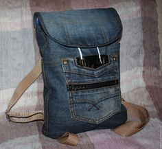 Купить Джинсовый рюкзак - темно-синий, однотонный, рюкзак, джинсовый стиль, джинсовый рюкзак