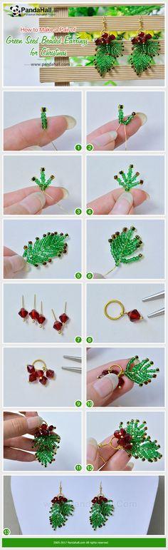 Noël boucles d'oreilles perles de rocaille vertes