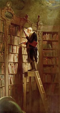 The Bookworm (Der Bücherwurm), 1850. Carl Spitzweg (German, 1808-1885). Oil on canvas. Typical of Spitzweg's humorous, anecdotal style and characteristic of Biedermeier art in general. The painting is representative of the introspective and conservative mood in Europe during the period between the end of the Napoleonic Wars and the revolutions of 1848, but at the same time pokes fun at those attitudes by embodying them in the fusty old scholar unconcerned with the affairs of the mundane…