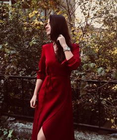 Wrap Dress With Belt - Burgundy Red Wrap Dress, Spring Trends, Hairpin, Indian Wear, Lady In Red, Countryside, Dress Skirt, Burgundy, Korean