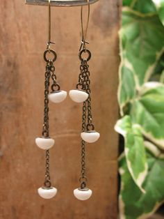 Button Jewelry - Vintage Triple White Petite Porcelain Button Dangle Earrings on Brass Kidney Wires. $32.00, via Etsy.