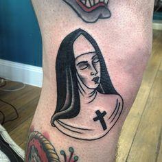 Tattoo by Karl Willmann #nun #traditionalwoman #karlwillman