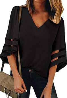 5654fe4747e0eb Hount Womens Casual Chiffon V Neck 3 4 Bell Sleeve Blouse Tops with  Patchwork Oberteile
