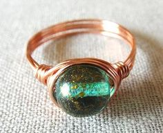 Czech Bead Ring  Green Glass Ring  Copper Ring  by PepperandPomme