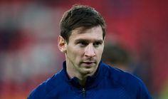 Lionel Messi of FC Barcelona reacts prior the La Liga match between Athletic Club and FC Barcelona at San Mames Stadium onÊ February 8 2015 in Bilbao...