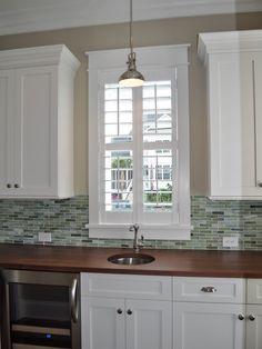 white cabinets, wood counter top, stainless appliances, tile back splash. Kitchen Redo, New Kitchen, Kitchen Remodel, Kitchen Design, Kitchen Ideas, Wood Countertops, Traditional Kitchen, White Cabinets, Custom Homes