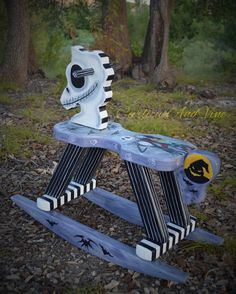 Nightmare Before Christmas Inspired-Rocking Horse - Art - Hand Painted - Jack Skellington - Sally Skellington