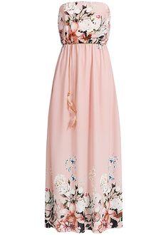 Styleboom Fashion Damen Bandeau Kleid Longform Blumen Muster Bindegürtel rosa Styleboom Fashion Kleider | 77onlineshop im Online Shop preiswert kaufen