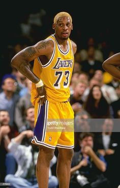 Dennis Rodman of the Los Angeles Lakers looks on the court during the game against the Utah Jazz at the Great Western Forum in Inglewood, California. The Jazz defeated the Lakers Mandatory. Get premium, high resolution news photos at Getty Images Basketball Legends, Sports Basketball, College Basketball, Basketball Players, Kentucky Basketball, Duke Basketball, Nike Football, Kentucky Wildcats, Dennis Rodman Lakers