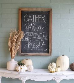 """Easy fall porch ideas + printable Bright and cheery EASY fall porch decorating tips! Plus FREE fall printable…<br> Bright and cheery EASY fall porch decorating tips! Plus FREE fall printable """"Gather with a Grateful Heart"""" Chalkboard Designs, Chalkboard Ideas, Fall Chalkboard Art, Chalkboard Walls, Thanksgiving Chalkboard, Chalkboard Doodles, Chalkboard Sayings, Blackboard Art, Chalkboard Writing"""