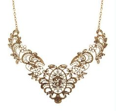 $4.99Antique Gold Patterned Bib Necklace at Online Jewelry Store Gofavor
