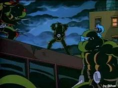 TEENAGE MUTANT NINJA TURTLES (1987-1996, syndication, then CBS, USA; theme by Chuck Lorre and Dennis C. Brown) It's hard not to smile when hearing this lively theme song because it reminds me of Saturday mornings watching the show with my boys. I think I enjoyed the adventures of the wise-cracking heroes in a halfshell just as much as they did. (KevinR@Ky)