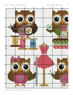Ponto cruz curuja lindas Cross Stitch Owl, Cross Stitch Alphabet, Cross Stitch Animals, Cross Stitch Designs, Cross Stitching, Cross Stitch Embroidery, Cross Stitch Patterns, Crochet Square Patterns, Crochet Diagram