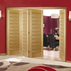 Nuvu Roomfold Salvador Oak Veneered Flush Folding 4 Door Set, 2078mm high and 2512mm or 2816mm wide. #oakfoldingdoors #nuvuoakfoldingdoors #oakflushroomdividers