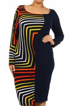 SEXY DIVA NEW Fashion PLUS SIZE DRESS Colorful Print LS Orange Red 1X-2X-3X