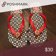 Tory Burch Rubber flip flops Red, gold, white navy Tory Burch Shoes Sandals