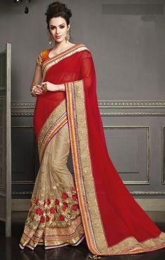 USD 105.72 Red Georgette Chiffon Wedding Saree 47544