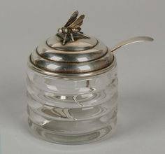 Blackington USA Sterling Silver Bee Figural Beehive Honey Pot Jar-1930 Deco - Wouldn't I love to have this!
