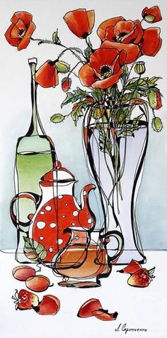 Glass Fantasy 3 - cross stitch kit by Oven Company - A vase with poppies, bottle, teapot, jug and strawberries. Watercolor Flowers, Watercolor Paintings, Art Paintings, Silk Painting, Painting & Drawing, Art Aquarelle, Still Life Art, Art Graphique, Painting Inspiration