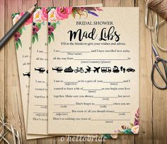 Bohemian Bridal Shower Mad Libs Game  Printable by ohellobride