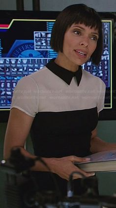 Camille's black and white collared top on Bones.  Outfit Details: http://wornontv.net/32847/ #Bones