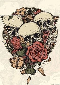 Skulls and roses tattoo