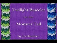 Rainbow Loom or Monster Tail TWILIGHT Bracelet (Reversible ). Designed and loomed by Christine Giradi at jordantine1. Click photo for YouTube tutorial. 06/18/14.