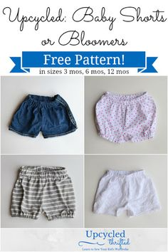 Upcycled Baby Shorts and Bloomers: FREE Pattern!