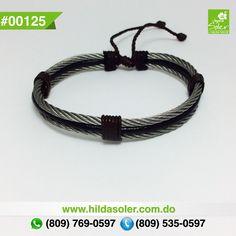 Colección HILMARKY  Pulsera en piel y cable de acero para hombres