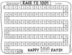 """Race to was created as a 100 days of school activity, but could really be used any time of year! Students roll a dice and move that many spaces. The first one to reach 100 wins! Happy day of school! 1st Grade Math, Kindergarten Math, Teaching Math, First Grade, Grade 1, Teaching Ideas, Preschool Teachers, Kindergarten Graduation, Eighth Grade"
