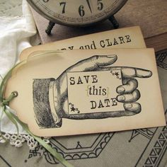 Vintage Wedding Save the Date  Hinged Shipping Tags by SunshineandRavioli  http://sunshineandravioli.etsy.com