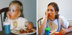 Fotos de la infancia reproducidas años después por sus protagonistas