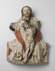 Anonymous | Genadestoel: God de Vader, Christus en de Heilige Geest, Anonymous, c. 1440 | God de vader zit frontaal op een bank met de gekruisigde Christus voor zich tussen de knieën. Van zijn mond uit vliegt de Heilige Geest in de gedaante van een duif omlaag naar het hoofd van Christus. God de Vader, van wie het hoofd iets naar links overhelt, staart met een zachte uitdrukking recht voor zich uit. Zijn haren vallen op de rug, de lange snor hangt langs de mondhoeken omlaag. De ietwat…