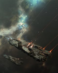 Battlecruiser on a mission, Oshanin Dmitriy on ArtStation at https://www.artstation.com/artwork/m8x1e