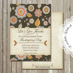 Printable Invitation  Thankgiving Dinner by GoldenMomentsDesign