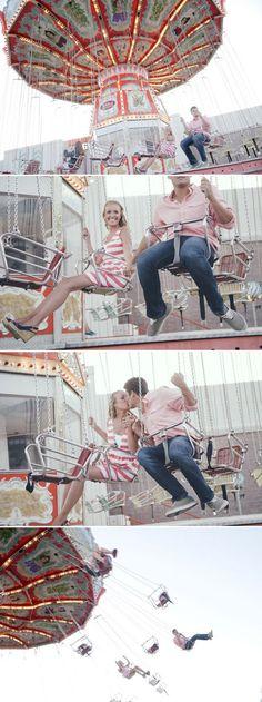 A South Carolina couple's amusement park engagement photo shoot. Photo by Ricki Ford Photographers via JunebugWeddings.com.