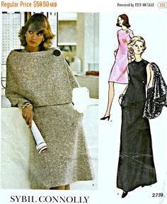 ON SALE 1970's Vogue Couturier Dress and Cape Pattern