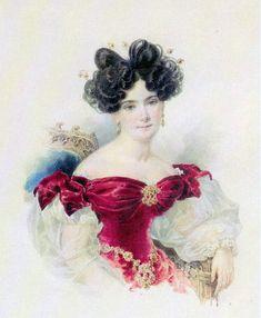 Alexander Pavlovich Brullov (1798–1877) Баронесса Наталья Викторовна Строганова (1800-1854), ур.Кочубей (начало 1830-х,Tretyakov Gallery, Moscow)