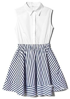White Blue Lapel Sleeveless Striped Ruffles Dress pictures