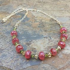 Pink Chalcedony Necklace with Citrine and Peridot, Sterling Silver Chain, 18 inches.