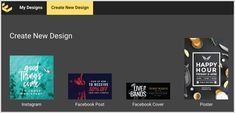Click the Create New Design tab in Easil. Tool Design, News Design, My Design, Instagram Blog, Instagram Story, Instagram Posts, Best Happy Hour, Instagram Marketing Tips, Private Sector