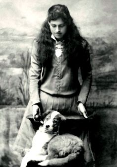 A rare image of Annie Oakley. Why rare? . . . In this beautiful photograph of Annie she's is not holding a gun! Annie had a border collie!