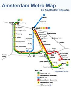 Amsterdam Metro Map which also includes a useful guide and ticket tips for travel by metro network in Amsterdam, Netherlands. Amsterdam Tips, Amsterdam What To Do, Amsterdam Travel, Amsterdam Tourist Attractions, Tourist Map, Netherlands Map, Train Map, Baltic Cruise, Sightseeing Bus