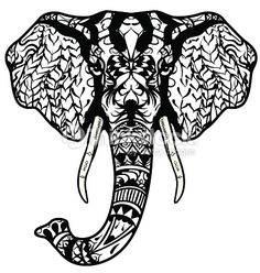 Elephant head. Adult antistress coloring page. Black white hand drawn doodle animal. Ethnic patterned vector. African, indian, totem tribal, zentangle design. Sketch for tattoo, poster, print, t-shirt