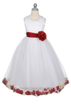 Flower Girl Dress Style 152-Choice of White or Ivory Dress with Red Sash and Petals $49.99